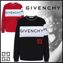 GIVENCHY Crew Neck Pullovers Stripes Street Style Bi-color