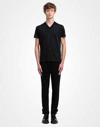 PRADA Luxury V-Neck Plain Cotton Short Sleeves V-Neck T-Shirts