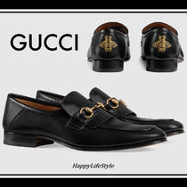 GUCCI Loafers Plain Other Animal Patterns Leather Fringes
