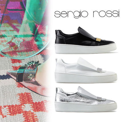 Rubber Sole Plain Leather Low-Top Sneakers