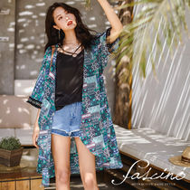 Casual Style Chiffon Dolman Sleeves Long Fringes Gowns