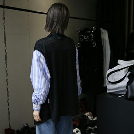 Shirts & Blouses Stripes Casual Style Street Style Long Sleeves Oversized 11