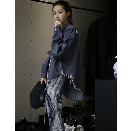 Shirts & Blouses Casual Style Unisex Denim Street Style Long Sleeves 3