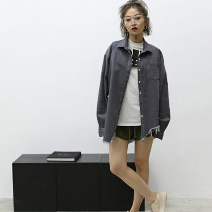 Shirts & Blouses Casual Style Unisex Denim Street Style Long Sleeves 10