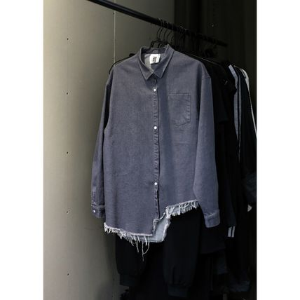 Shirts & Blouses Casual Style Unisex Denim Street Style Long Sleeves 16