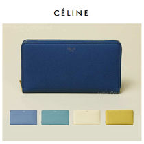 CELINE Unisex Plain Leather Long Wallets