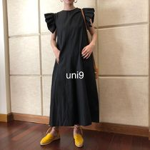Dungarees Casual Style Sleeveless Plain Cotton Long Dresses