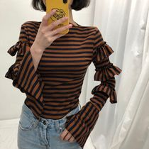Stripes Casual Style Rib Boat Neck Long Sleeves
