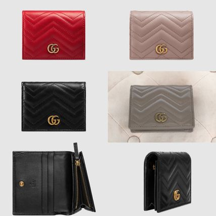on sale 5b98f eebd1 GUCCI GG Marmont 2019 SS Plain Leather Folding Wallets (466492 DRW1T 5729,  466492 DRW1T 6433, 466492 DRW1T 1000)