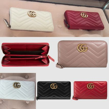 4be9ff04d402 GUCCI GG Marmont 2019 SS Plain Leather Long Wallets (443123 DRW1T ...