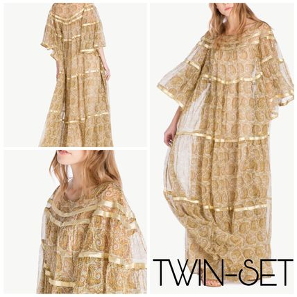 Paisley Maxi Silk Boat Neck Long Puff Sleeves Dresses