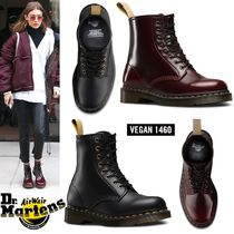 Dr Martens Round Toe Rubber Sole Lace-up Casual Style Unisex Faux Fur