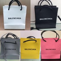 BALENCIAGA EVERYDAY TOTE Casual Style Calfskin Blended Fabrics Street Style 2WAY