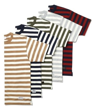 Crew Neck Stripes Short Sleeves Crew Neck T-Shirts