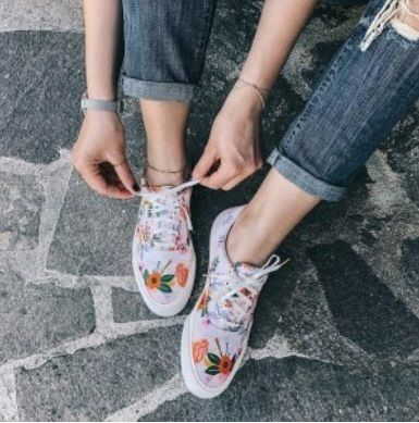 Flower Patterns Casual Style Collaboration Low-Top Sneakers