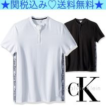 Calvin Klein Pullovers Henry Neck Plain Cotton Short Sleeves