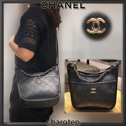3WAY Chain Plain Leather Elegant Style Shoulder Bags