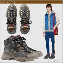GUCCI Mountain Boots Street Style Plain Leather Outdoor Boots