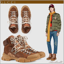 GUCCI Monogram Mountain Boots Street Style Plain Leather Sneakers