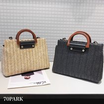 Casual Style Street Style 2WAY Straw Bags