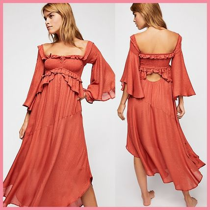 Casual Style Flared Long Dresses