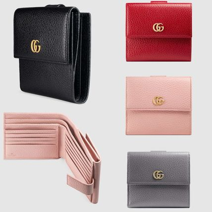 6b4edc73381 GUCCI GG Marmont 2019 SS Plain Leather Folding Wallets (456122 CAO0G ...