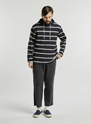 Stripes Long Sleeves Cotton Hoodies