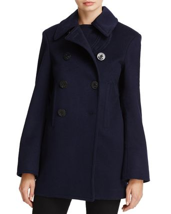Burberry Wool Plain Elegant Style Peacoats