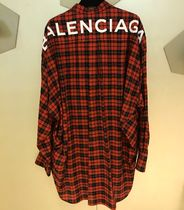 BALENCIAGA Tartan Casual Style Street Style Long Sleeves Cotton Long