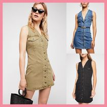 Free People Short Casual Style Tight Denim Sleeveless V-Neck Dresses