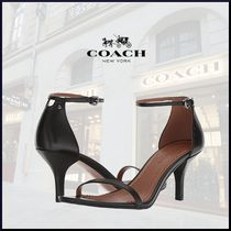 Coach Open Toe Casual Style Plain Leather Pin Heels Heeled Sandals