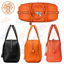 HERMES Victoria Blended Fabrics Plain Leather Elegant Style Totes