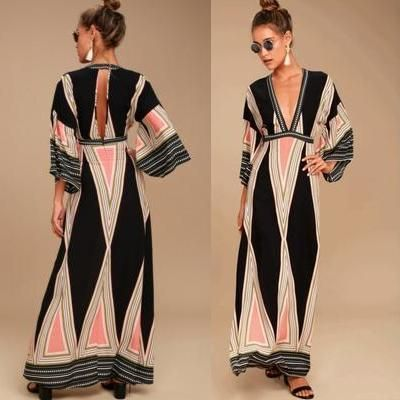 Casual Style Maxi Street Style V-Neck Long Sleeves Long
