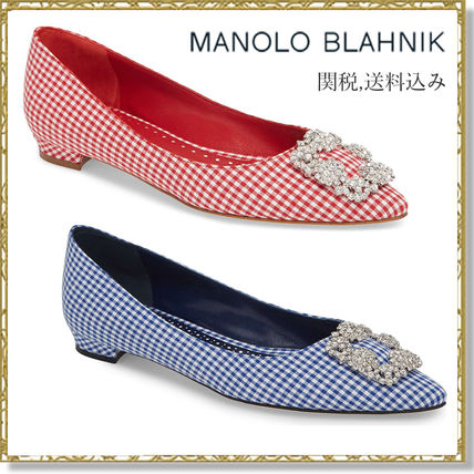 Gingham Leather Elegant Style Slip-On Shoes