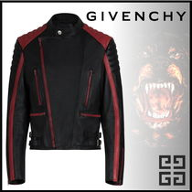 GIVENCHY Short Studded Street Style Bi-color Leather Biker Jackets