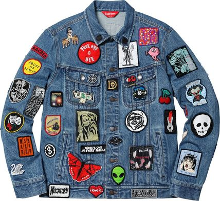 Supreme Skull Heart Unisex Denim Street Style Denim Jackets Jackets