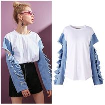 ELF SACK Casual Style Street Style Puff Sleeves Shirts & Blouses