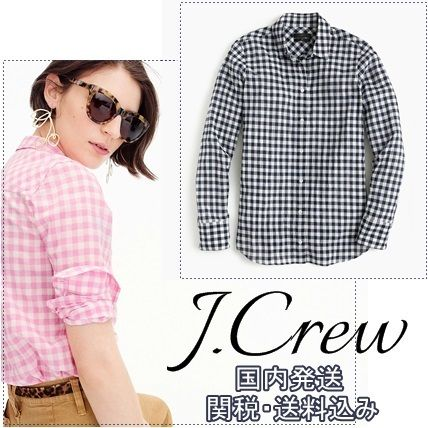 Gingham Casual Style Long Sleeves Cotton Medium