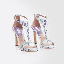 MaxMara Flower Patterns Open Toe Leather Heeled Sandals