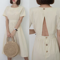 Casual Style Plain Cotton Long Short Sleeves Dresses