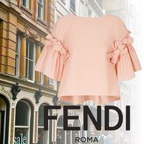 FENDI Boat Neck Cotton Medium Elegant Style Puff Sleeves