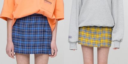 Short Other Check Patterns Street Style Cotton Skirts