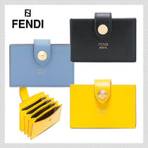 FENDI Plain Leather Card Holders
