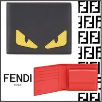 FENDI BAG BUGS Plain Leather Folding Wallets