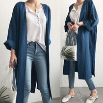 Casual Style Linen Plain Long Short Sleeves Gowns Cardigans