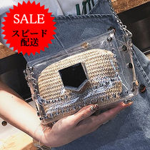 Casual Style Crystal Clear Bags Shoulder Bags