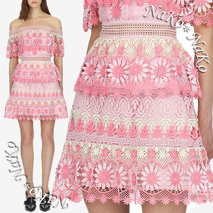 Short Flower Patterns A-line Blended Fabrics Lace