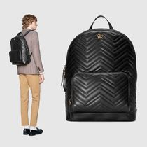 GUCCI Street Style Plain Leather Backpacks