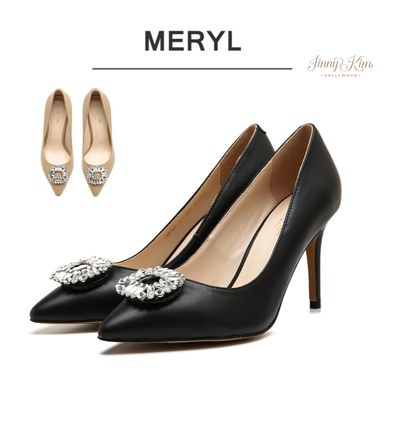 Leather Pin Heels Elegant Style Stiletto Pumps & Mules