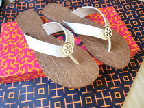 Tory Burch Open Toe Rubber Sole Casual Style Plain Leather Flip Flops